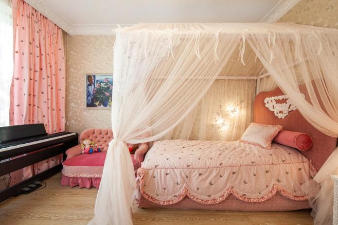 текстиль в интерьере спальни для девочки подростка