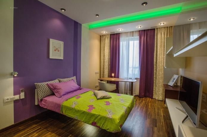 освещение в интерьере спальни для девочки подростка