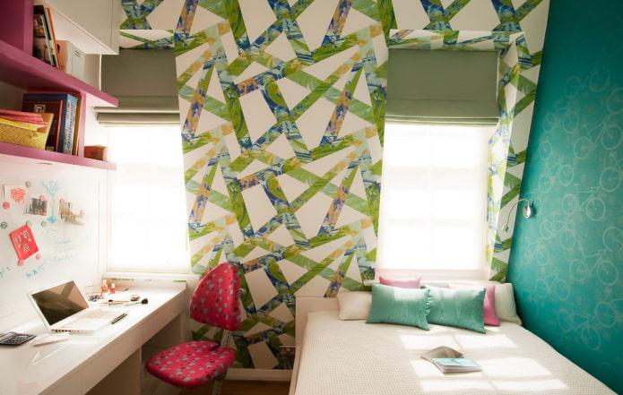 дизайн спальни на мансарде для девочки подростка