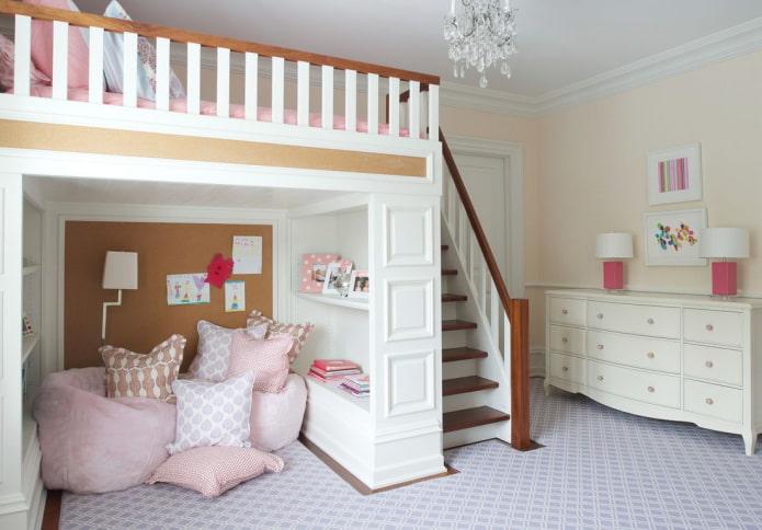 дизайн двухэтажной спальни для девочки подростка