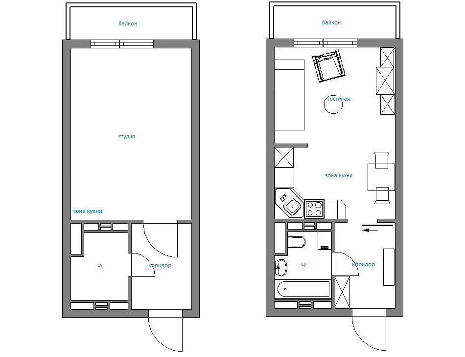 планировка дизайна квартиры-студии 28 кв. м.
