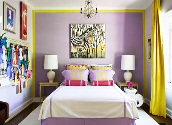 сиреневый и желтый в спальне