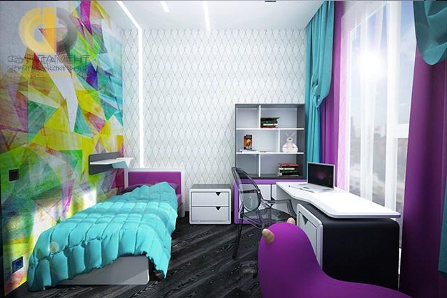 Яркий интерьер спальни для девочки-подростка в стиле поп-арт
