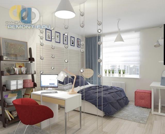 Интерьер современной спальни для девочки-подростка с яркими акцентами