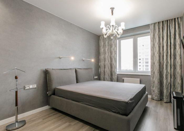 Серая спальня в стиле минимализм