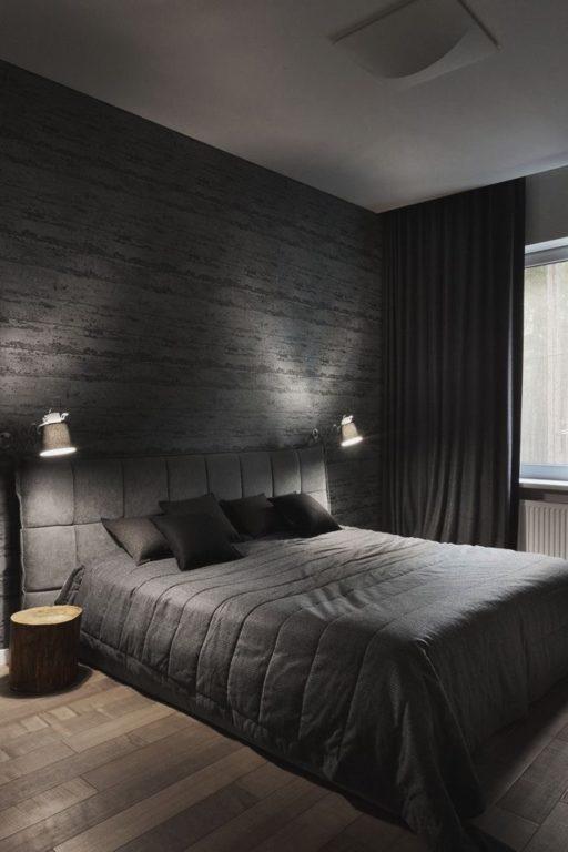 Современная чёрная спальня