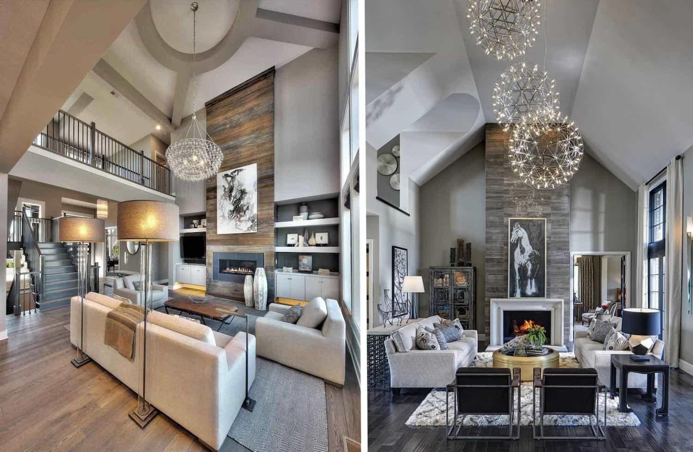 Пример фото гостиной с лестницей в частном доме