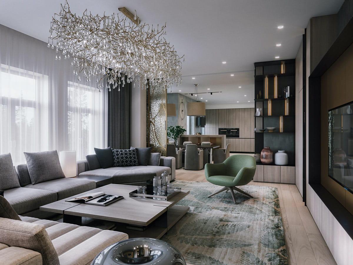 модный дизайн гостиной фото 22