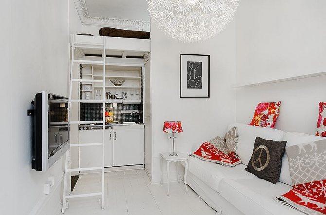 квартира студия 28 кв м с высокими потолками