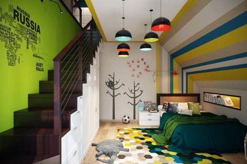 Даже зону около лестницы можно превратить в спальное место