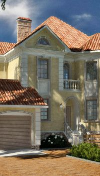 На такой картинке видно всё: стиль и цвет фасада, устройство приямков цокольного этажа, и даже ландшафтный дизайн