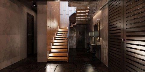 Отделка цокольного этажа внутри: лестница с подсветкой, ведущая в холл