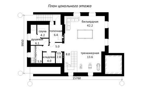 Стандартная планировка цокольного этажа