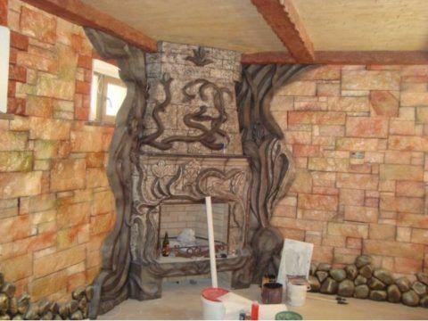 Оригинальная отделка цокольного этажа