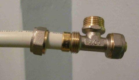Монтаж компрессионного фитинга на металлопластике