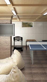 Комфортабельная комната отдыха перед баней в подвале