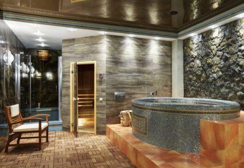 Комната отдыха с баней с подвальном этаже дома