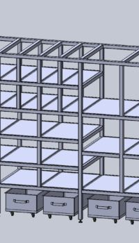 Модель стеллажа в 3d