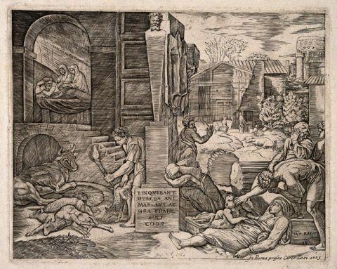 Эпидемия чумы на средневековой гравюре