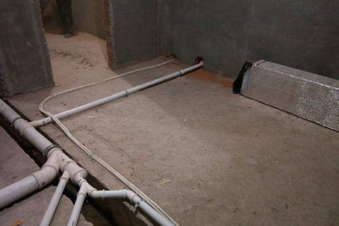 Открытая разводка в подвале