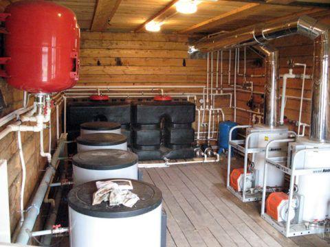 Топливные баки в дизельной котельной
