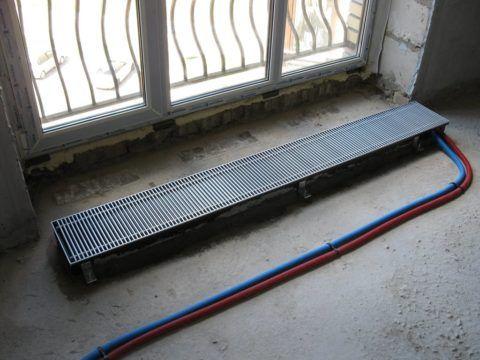 Монтаж внутрипольного конвектора в стяжку