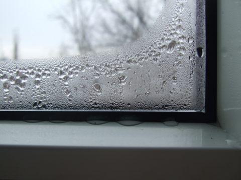 Влага конденсируется на стеклах в наиболее холодной комнате