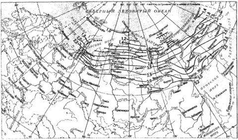 Изолинии уровня промерзания на территории России