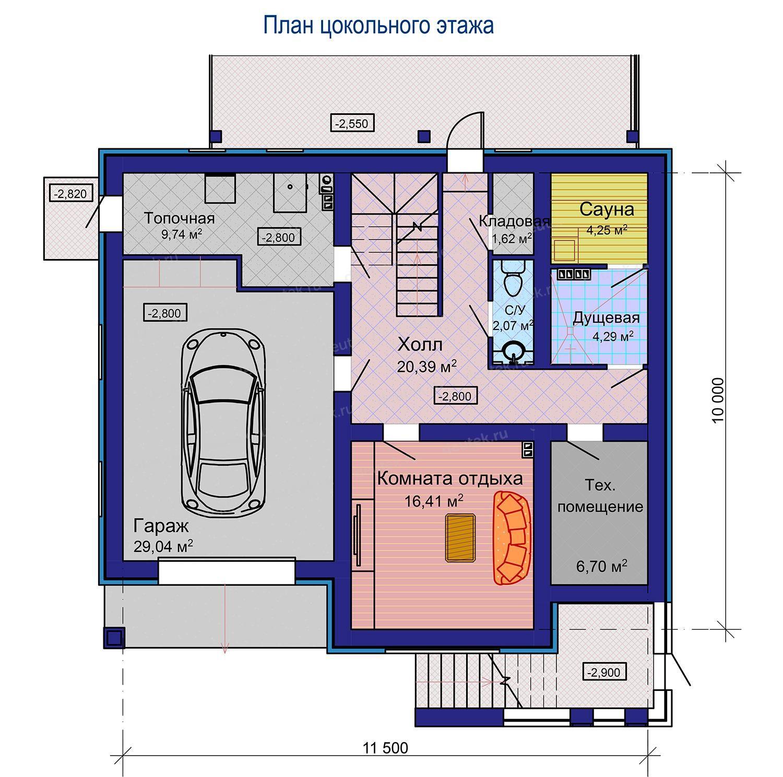 Вариант планировки цокольного этажа с гаражом