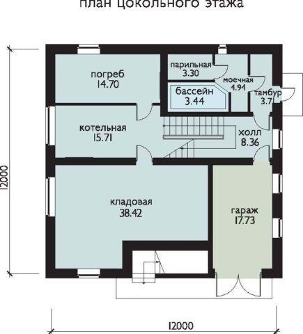 Как вариант - цокольный этаж 12*12м