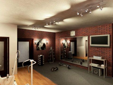 Комната для занятий спортом в подвале