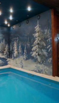 Оригинальный сюжет на стенах помещения бассейна