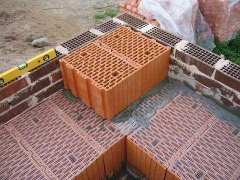 Стена может иметь несколько слоёв: вариант из керамоблока с кирпичной облицовкой