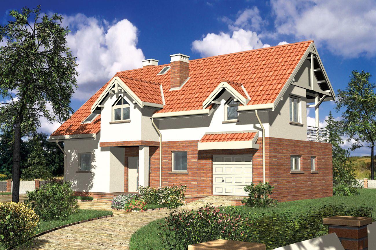 Кирпичные одноэтажные дома с цоколем и мансардой со встроенной террасой