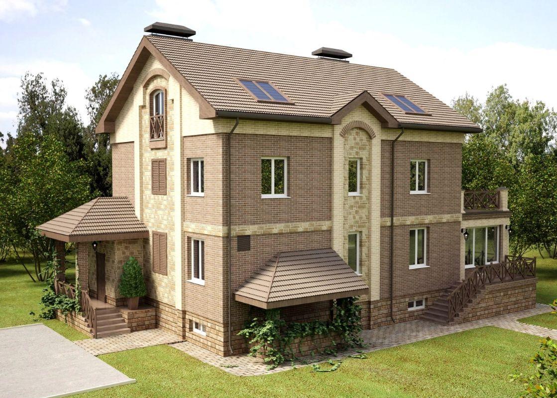 Кирпичный дом двухэтажный с цокольным этажом
