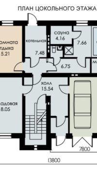 При большом размере пятна застройки, в цоколе может поместиться и гараж, и бассейн, и многое другое