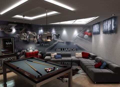 Бильярдная комната на фото оформлена в современном стиле