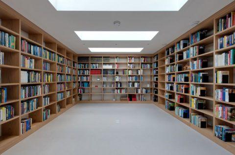 Большую домашнюю библиотеку можно разместить в цоколе