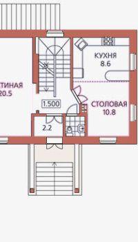 Планировка двухэтажного коттеджа с полуподвалом