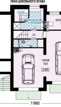 План дома с гаражом на две машины