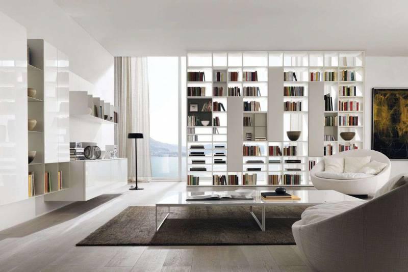 Стенка-стеллаж в современном интерьере гостиной