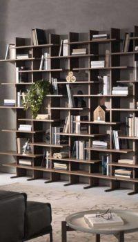Вариант оформления зоны хранения для книг в гостиной