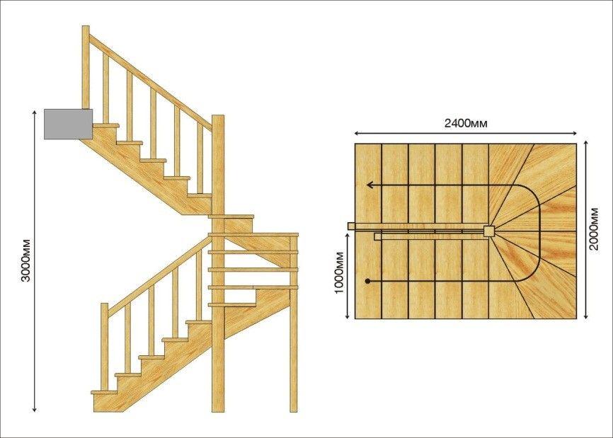 Лестница с удобными габаритами