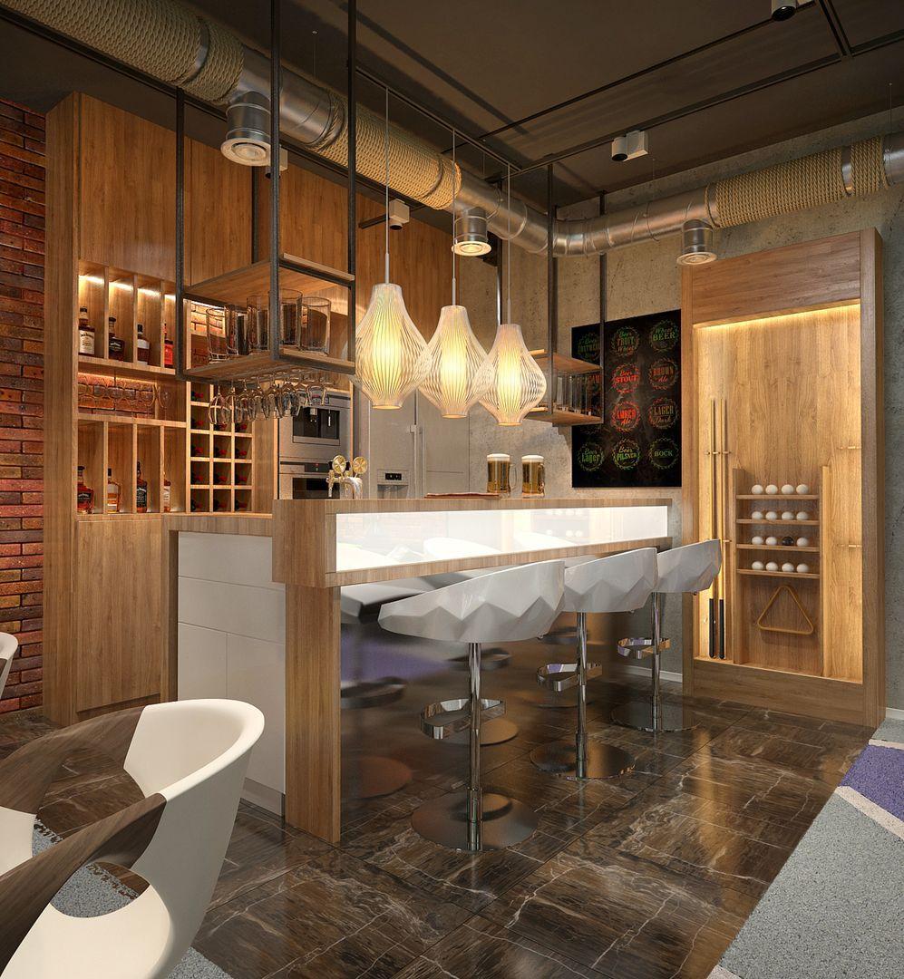Цокольный этаж небольшого дома с баром